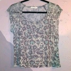 Cropped, lace, animal print top